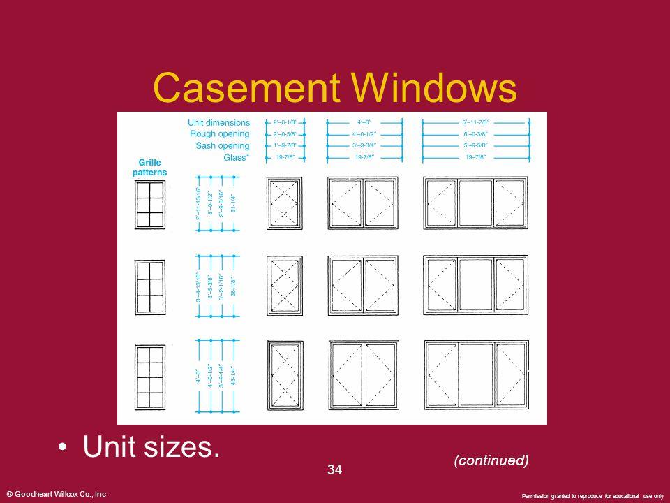 Casement Windows Unit sizes. (continued) 34