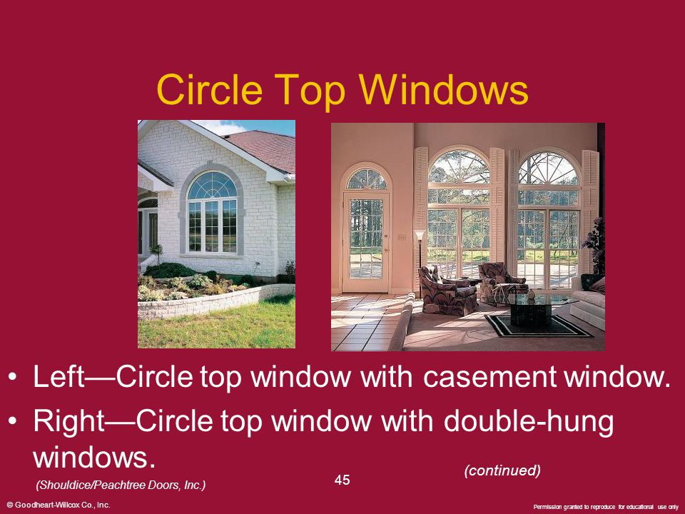 Circle Top Windows Left—Circle top window with casement window.