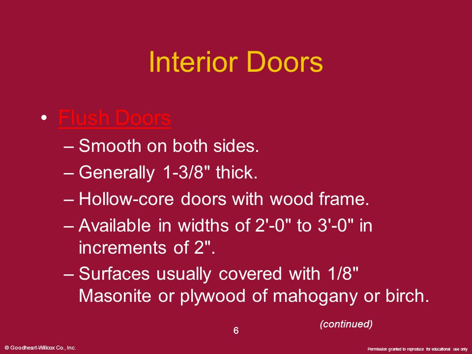 Interior Doors Flush Doors Smooth on both sides.