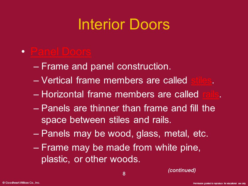 Interior Doors Panel Doors Frame and panel construction.