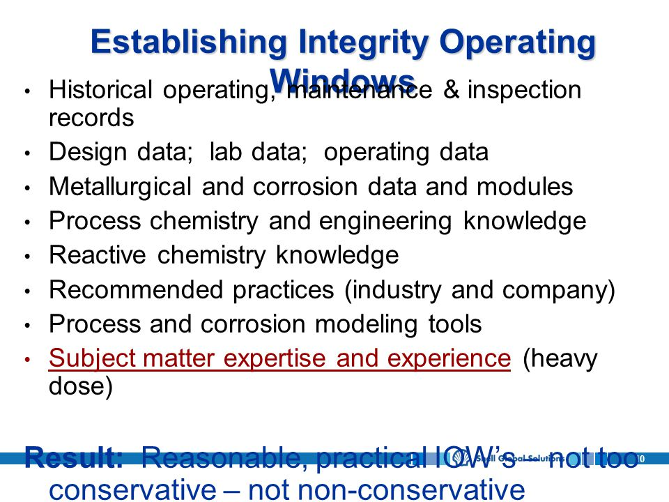 Establishing Integrity Operating Windows