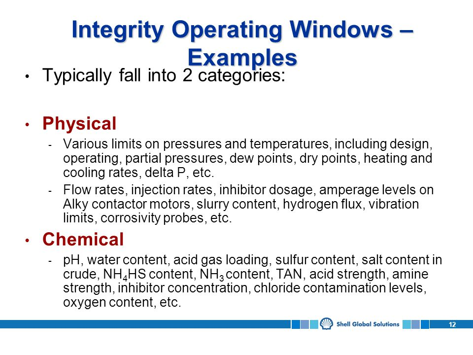 Integrity Operating Windows – Examples