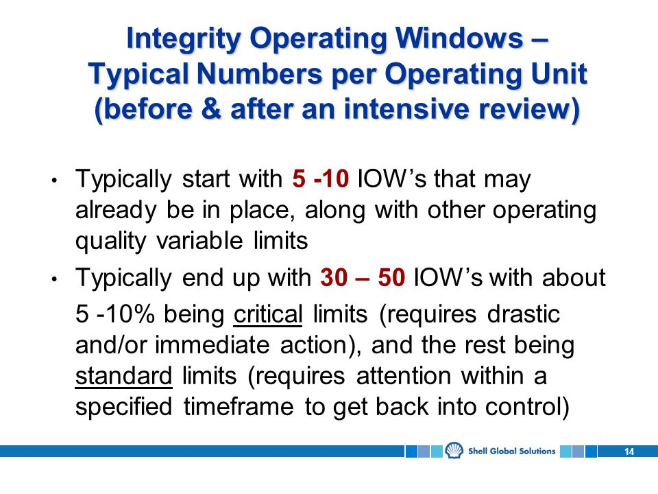 Integrity Operating Windows – Typical Numbers per Operating Unit (before & after an intensive review)