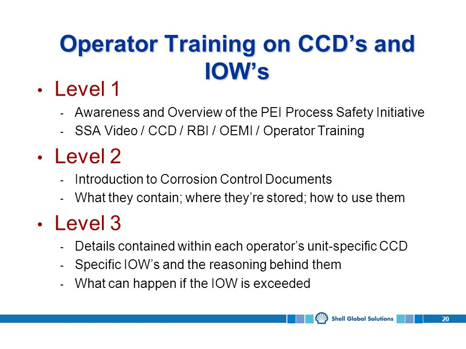 Operator Training on CCD's and IOW's