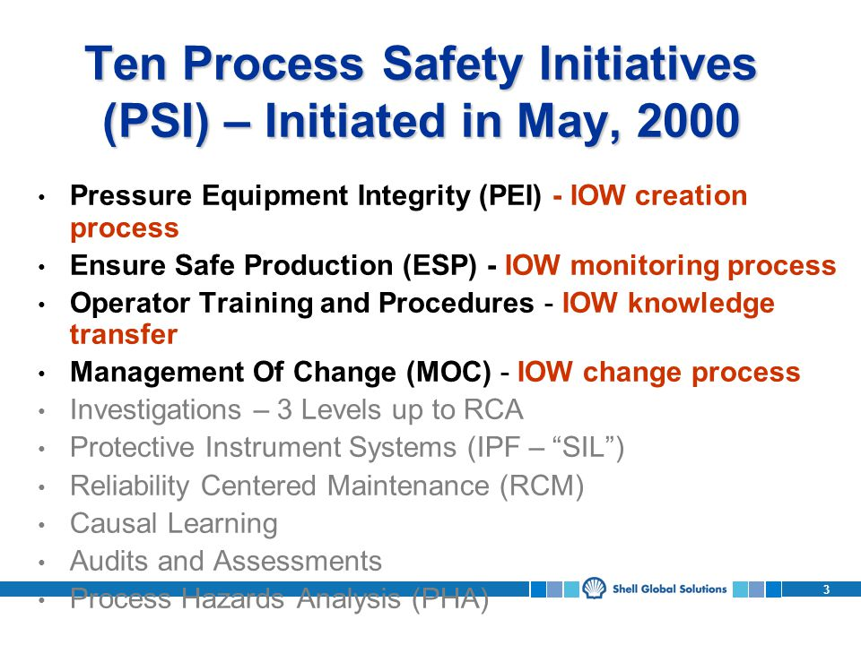 Ten Process Safety Initiatives (PSI) – Initiated in May, 2000