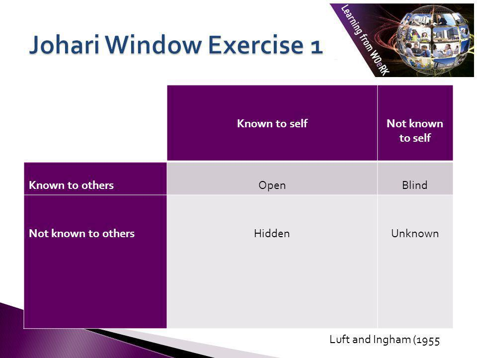Johari Window Exercise 1