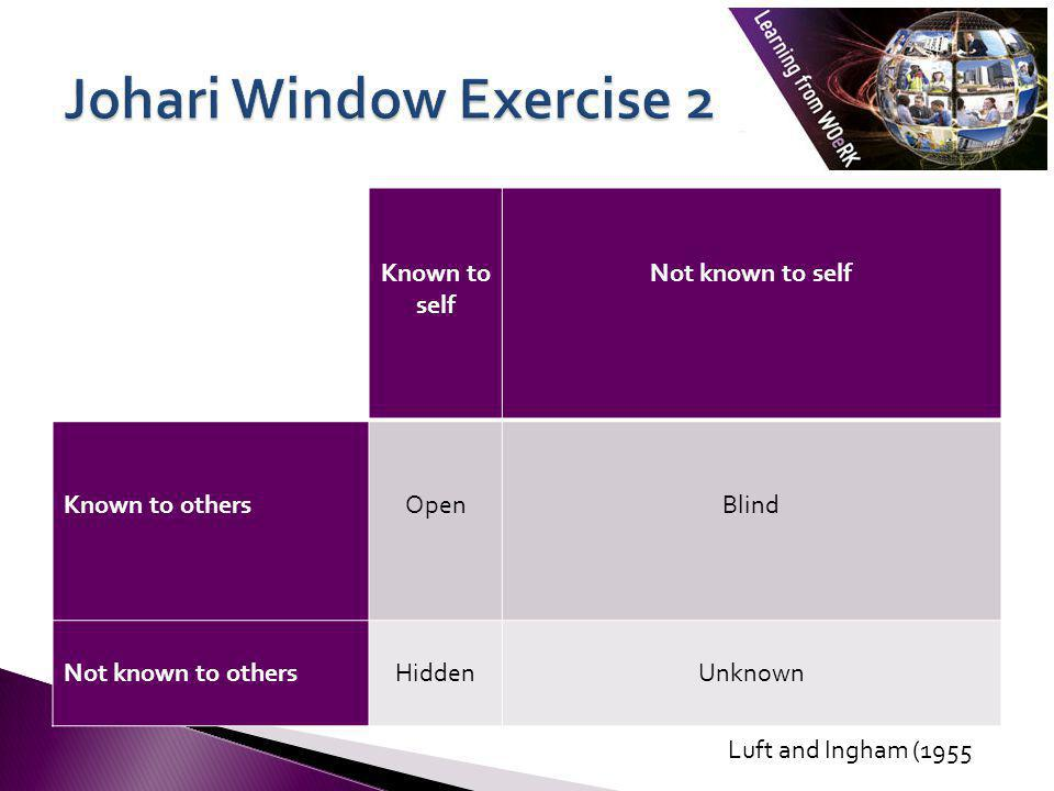 Johari Window Exercise 2