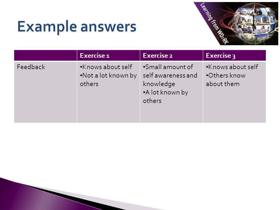 Example answers Exercise 1 Exercise 2 Exercise 3 Feedback