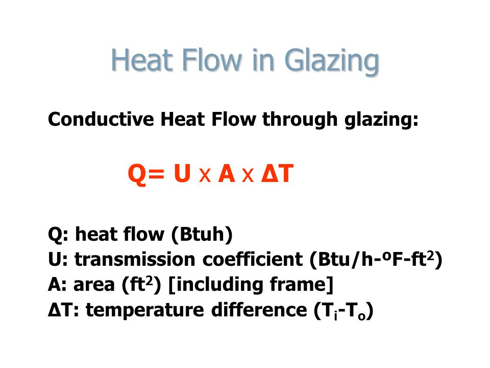 Heat Flow in Glazing Conductive Heat Flow through glazing: