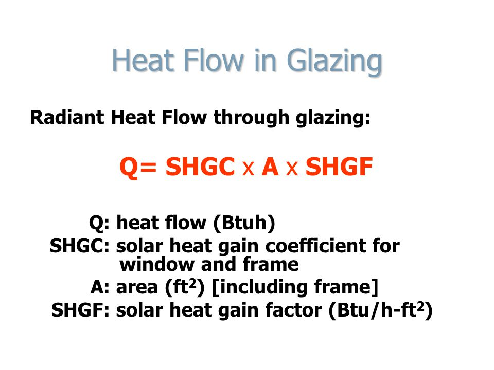 Heat Flow in Glazing Radiant Heat Flow through glazing: