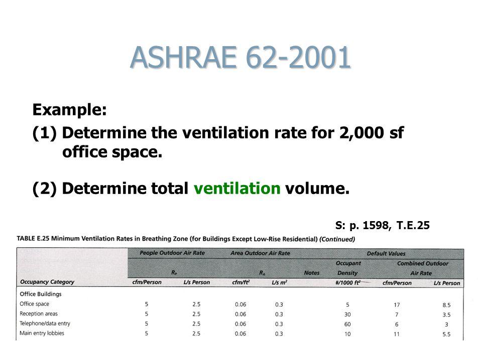 ASHRAE 62-2001 Example: (1) Determine the ventilation rate for 2,000 sf office space. (2) Determine total ventilation volume.