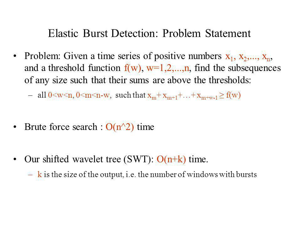 Elastic Burst Detection: Problem Statement