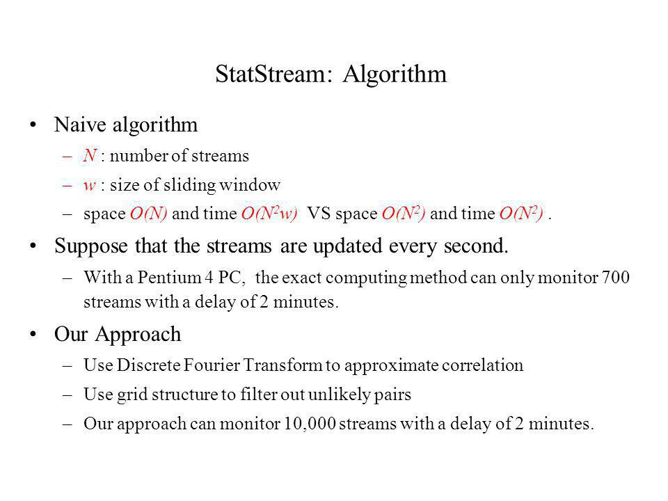 StatStream: Algorithm