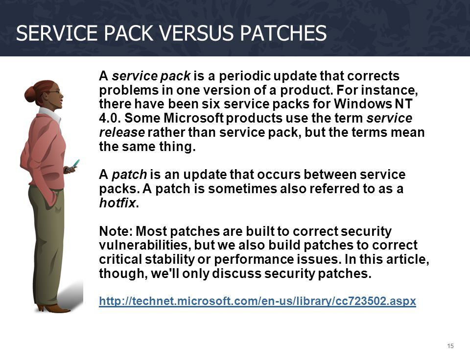 Service pack versus patches