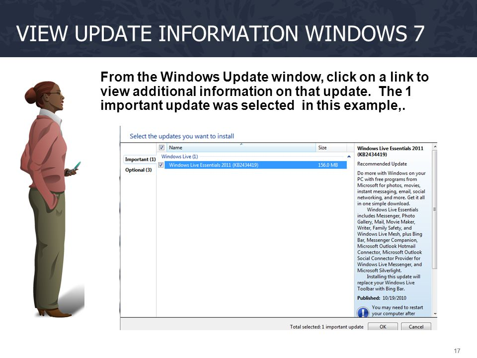 View update information Windows 7