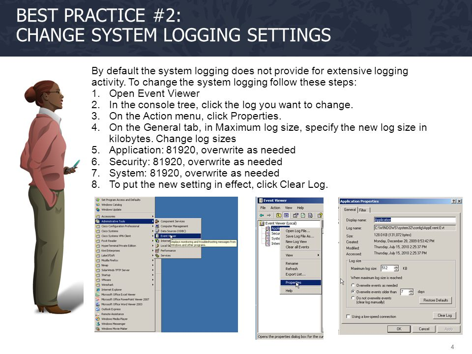 Best Practice #2: Change system Logging settings