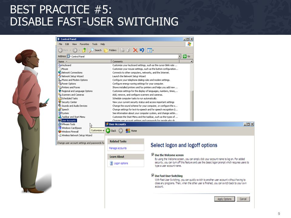 Best Practice #5: Disable Fast-User Switching