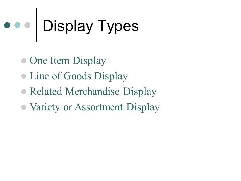 Display Types One Item Display Line of Goods Display
