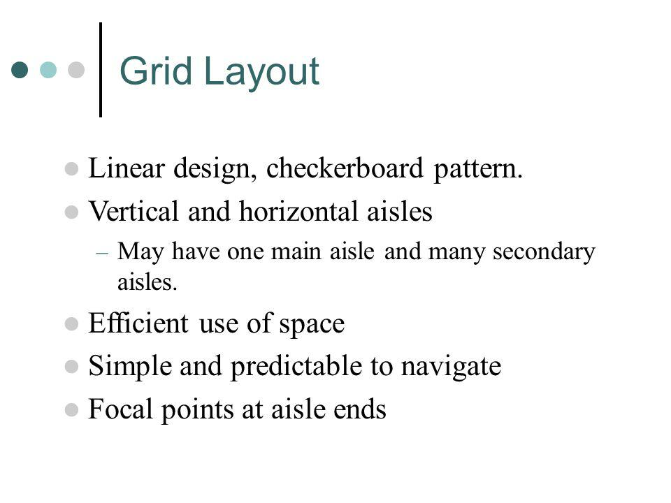 Grid Layout Linear design, checkerboard pattern.