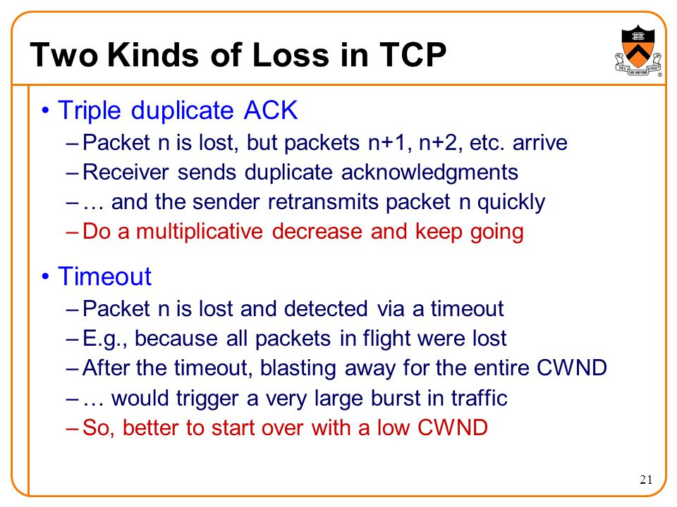 Two Kinds of Loss in TCP Triple duplicate ACK Timeout