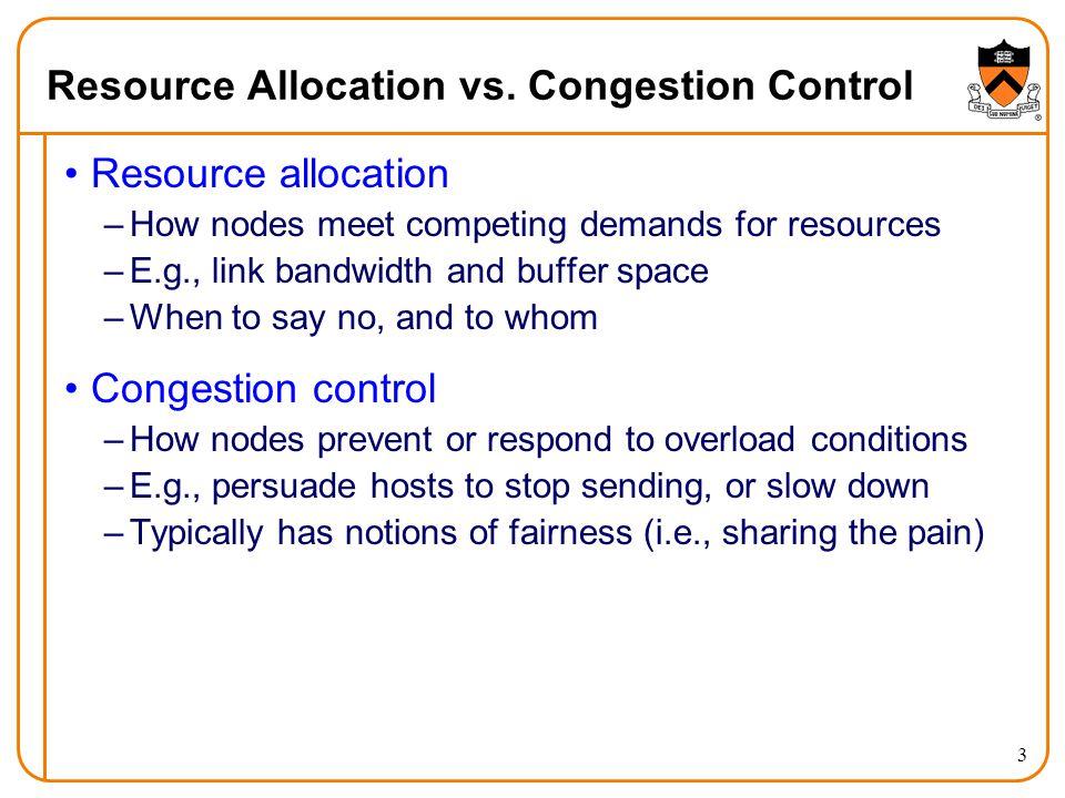 Resource Allocation vs. Congestion Control