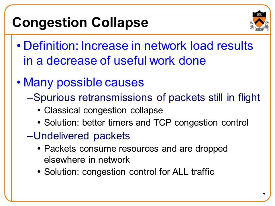 Congestion Collapse Definition: Increase in network load results in a decrease of useful work done.