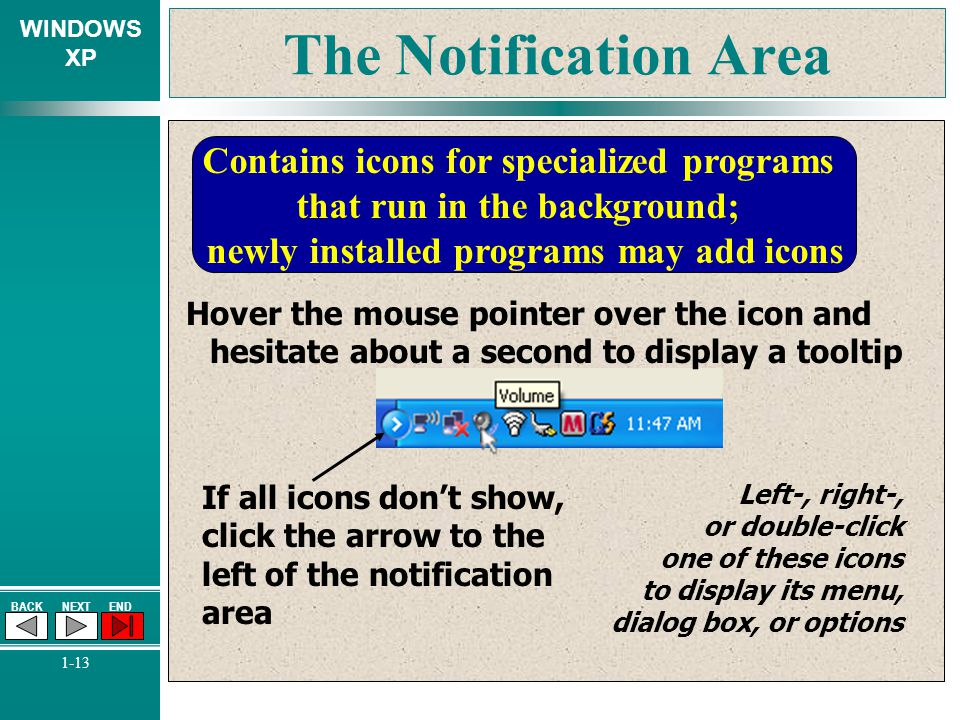 The Notification Area Contains icons for specialized programs that run in the background; newly installed programs may add icons.