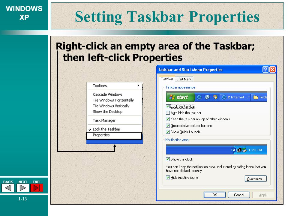 Setting Taskbar Properties