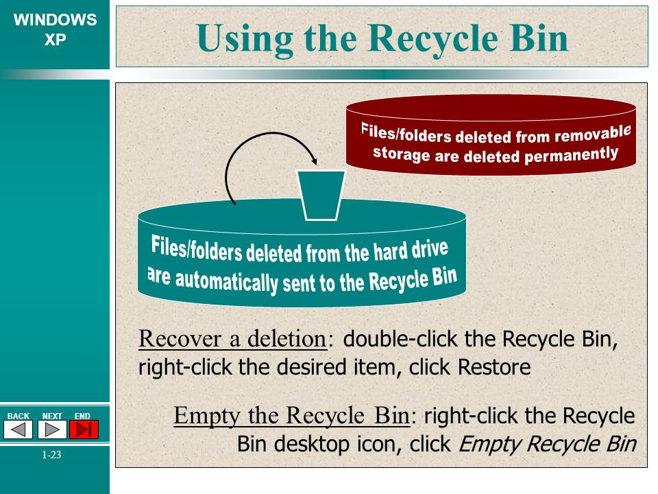 Using the Recycle Bin Files/folders deleted from removable. storage are deleted permanently. Files/folders deleted from the hard drive.