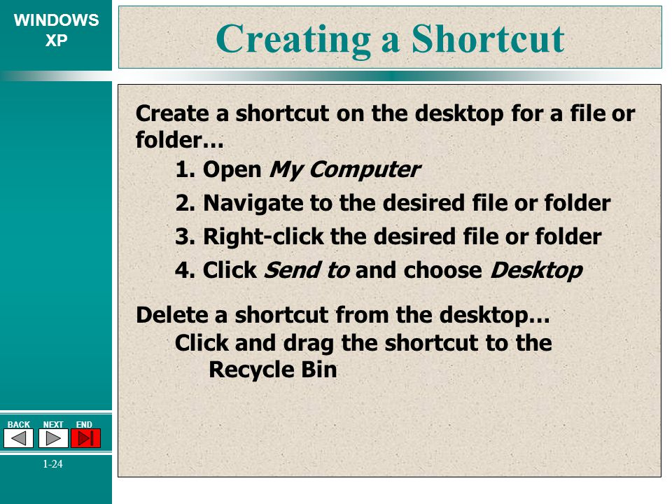 Creating a Shortcut Create a shortcut on the desktop for a file or folder… 1. Open My Computer. 2. Navigate to the desired file or folder.