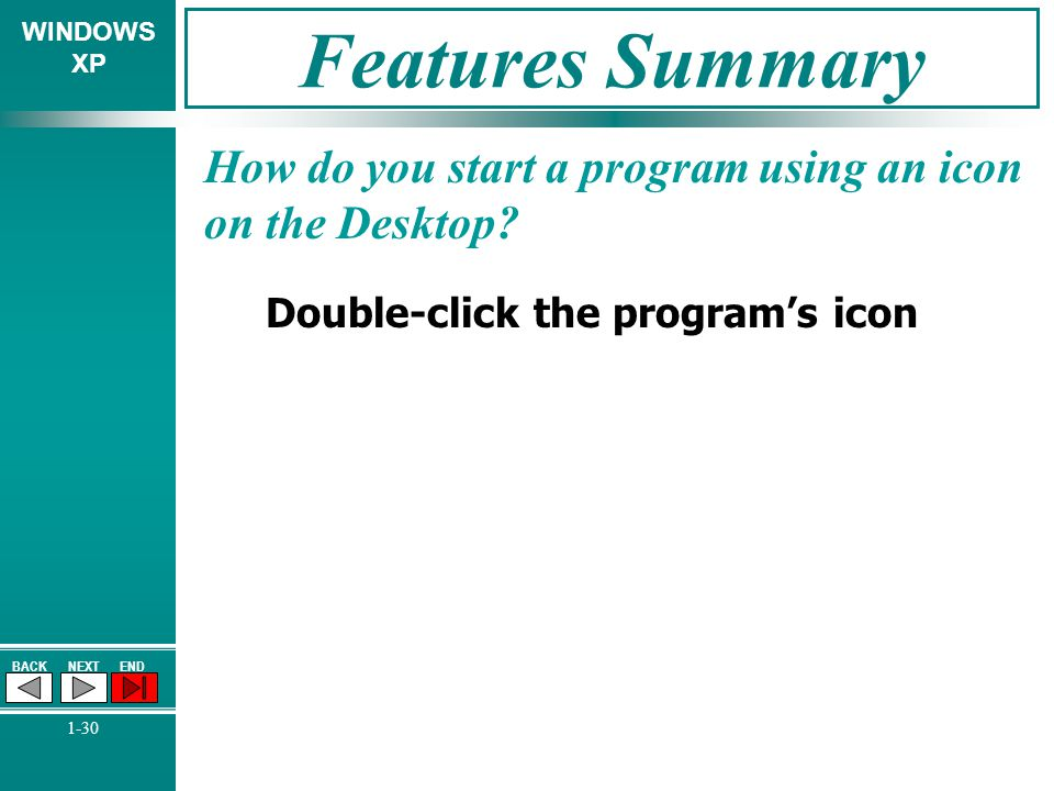 Features Summary How do you start a program using an icon on the Desktop.