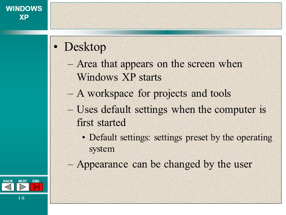 Desktop Area that appears on the screen when Windows XP starts
