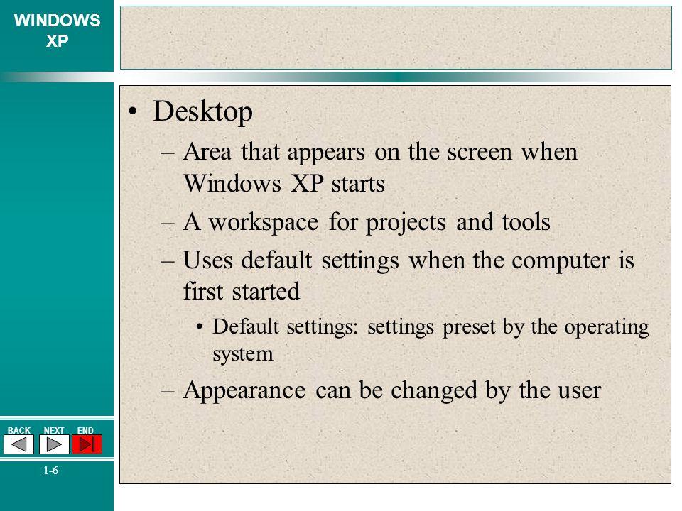 Desktop Area that appears on the screen when Windows XP starts