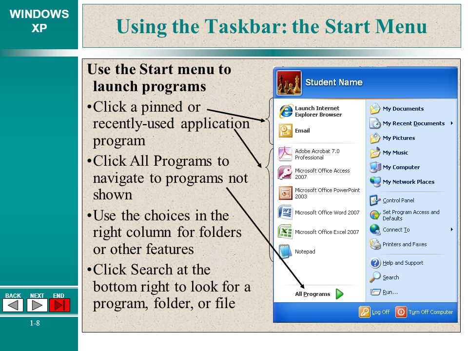 Using the Taskbar: the Start Menu