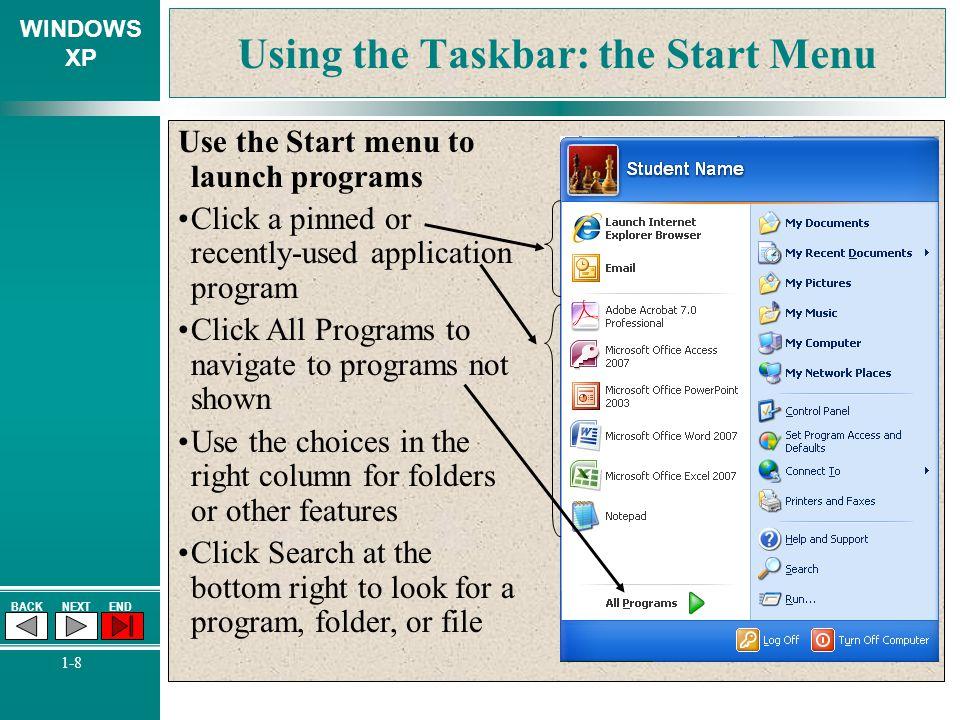 Using the Taskbar: the Start Menu