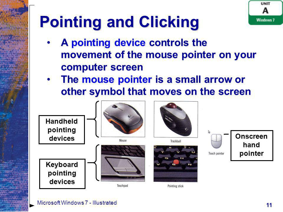 Handheld pointing devices Keyboard pointing devices