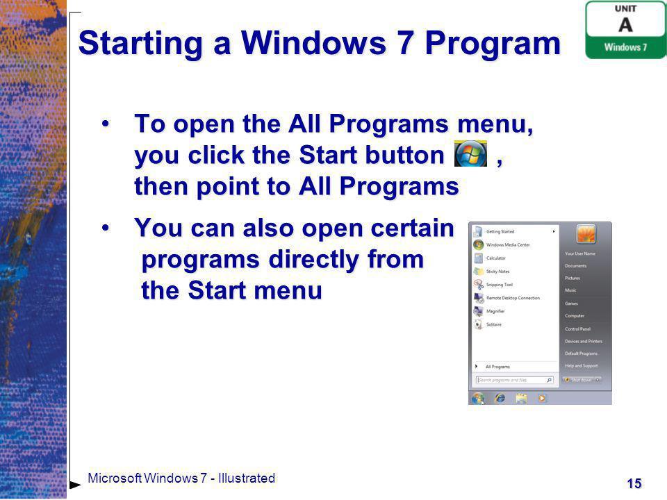 Starting a Windows 7 Program