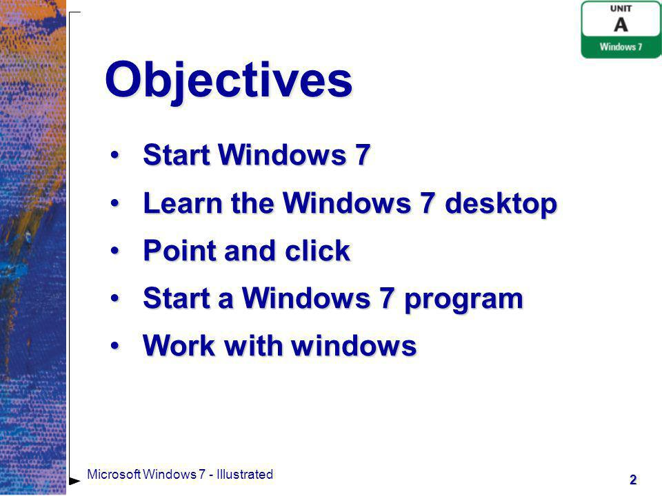 Objectives Start Windows 7 Learn the Windows 7 desktop Point and click