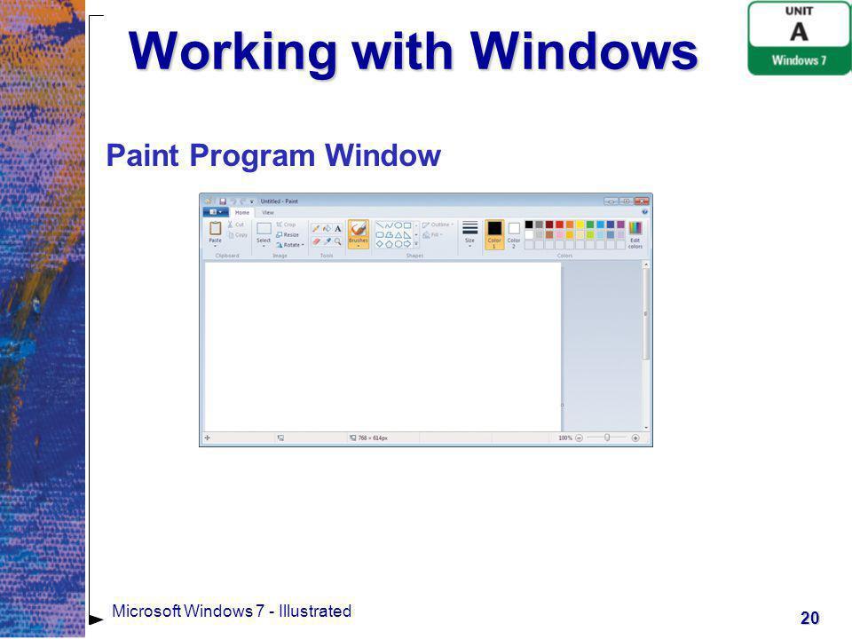 Working with Windows Paint Program Window