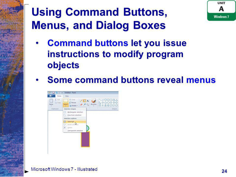 Using Command Buttons, Menus, and Dialog Boxes
