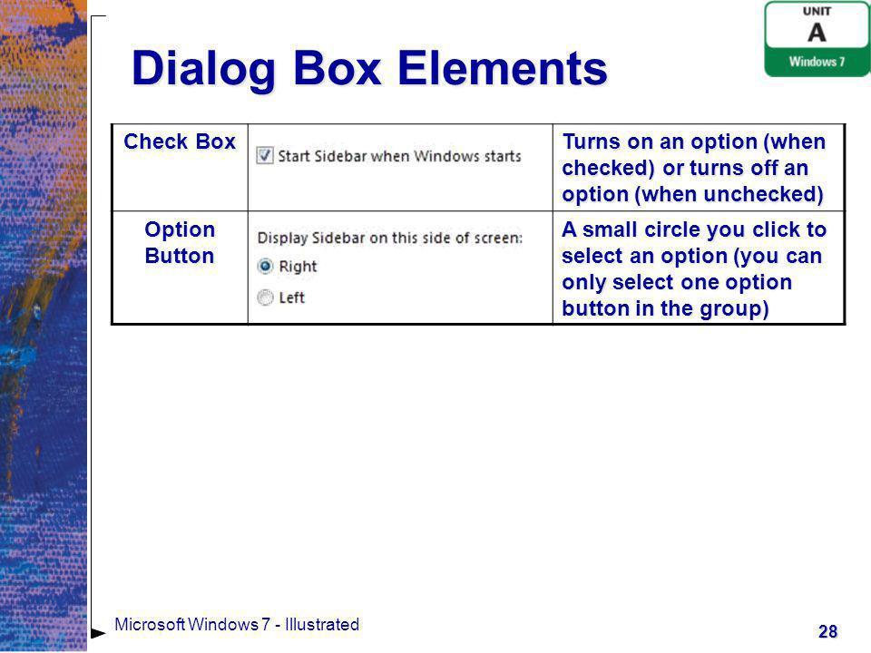 Dialog Box Elements Check Box