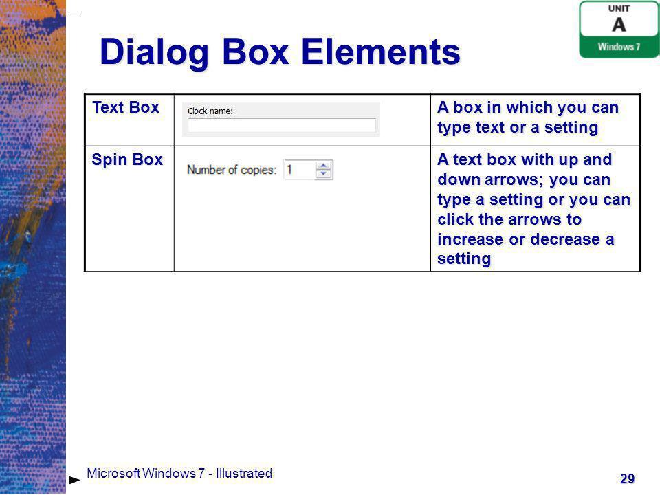 Dialog Box Elements Text Box