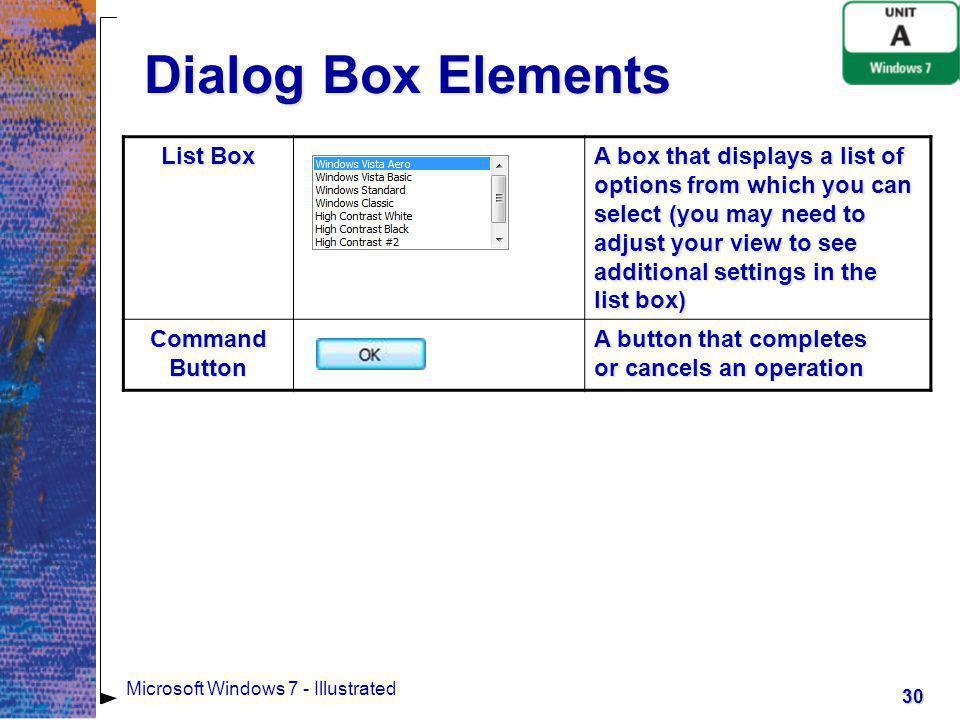 Dialog Box Elements List Box