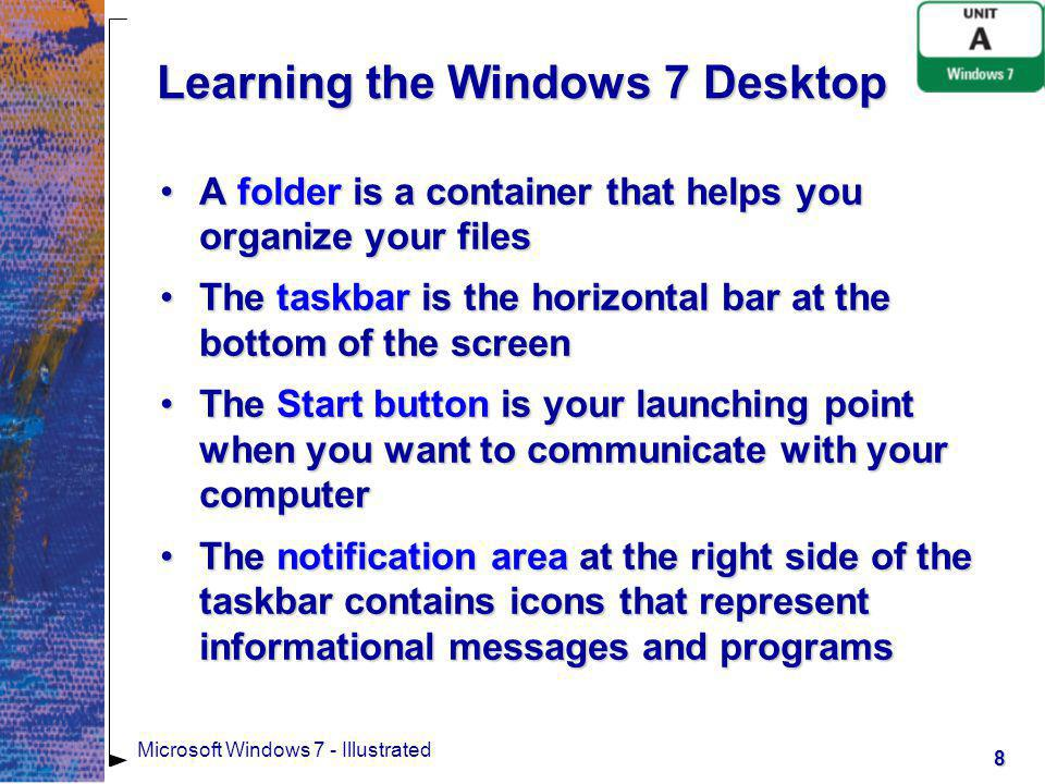 Learning the Windows 7 Desktop