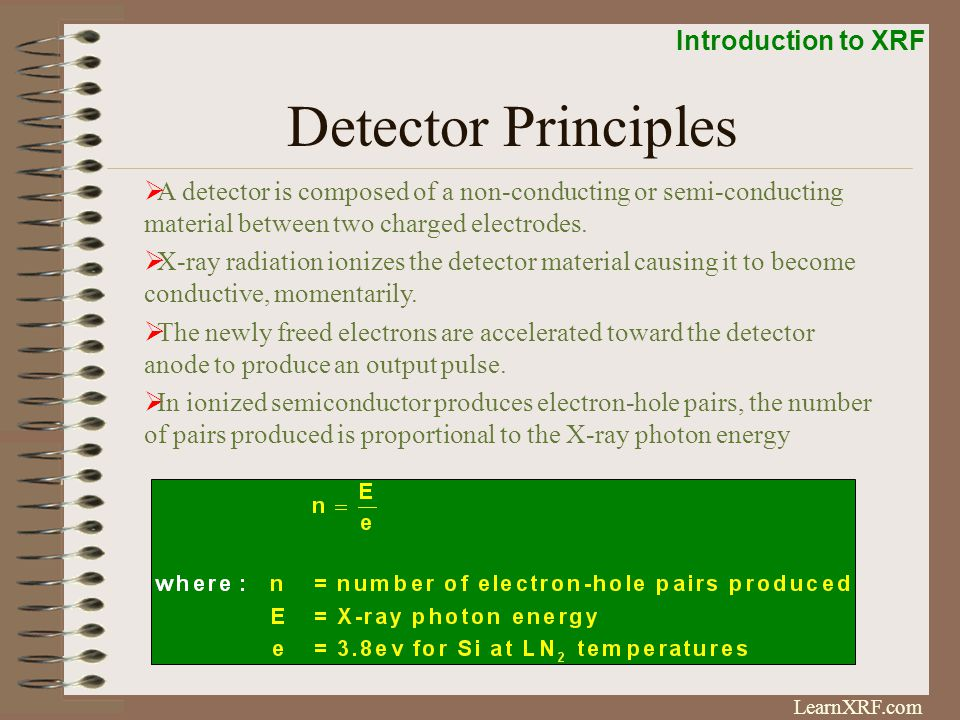 Detector Principles A detector is composed of a non-conducting or semi-conducting material between two charged electrodes.