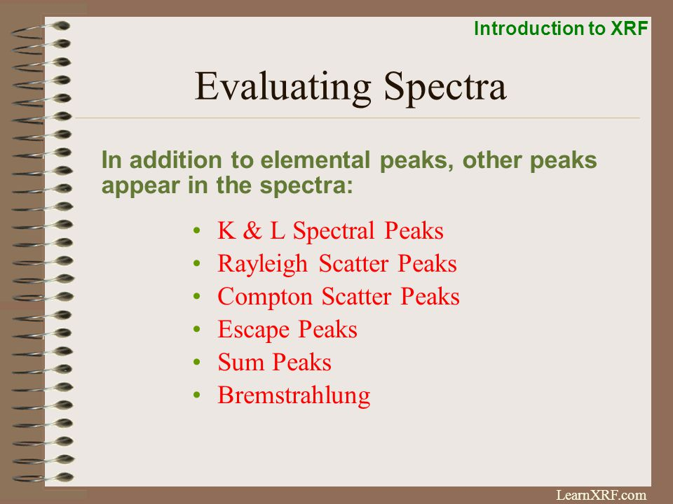 Evaluating Spectra K & L Spectral Peaks Rayleigh Scatter Peaks