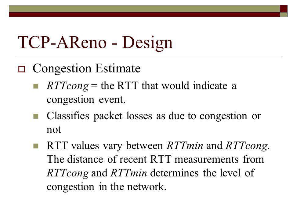 TCP-AReno - Design Congestion Estimate