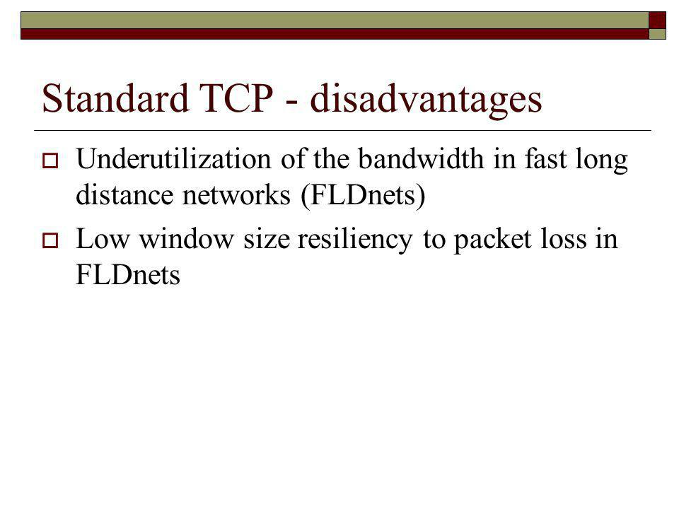 Standard TCP - disadvantages
