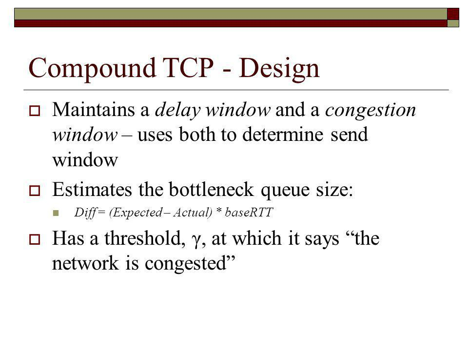 Compound TCP - Design Maintains a delay window and a congestion window – uses both to determine send window.
