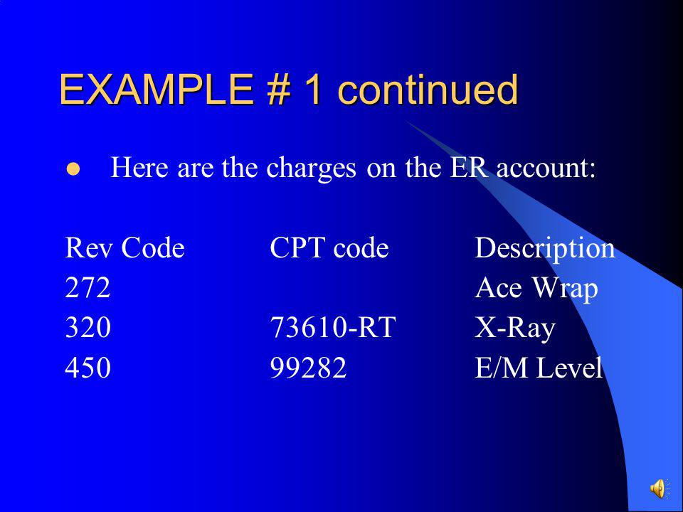 EXAMPLE # 1 continued Here are the charges on the ER account: